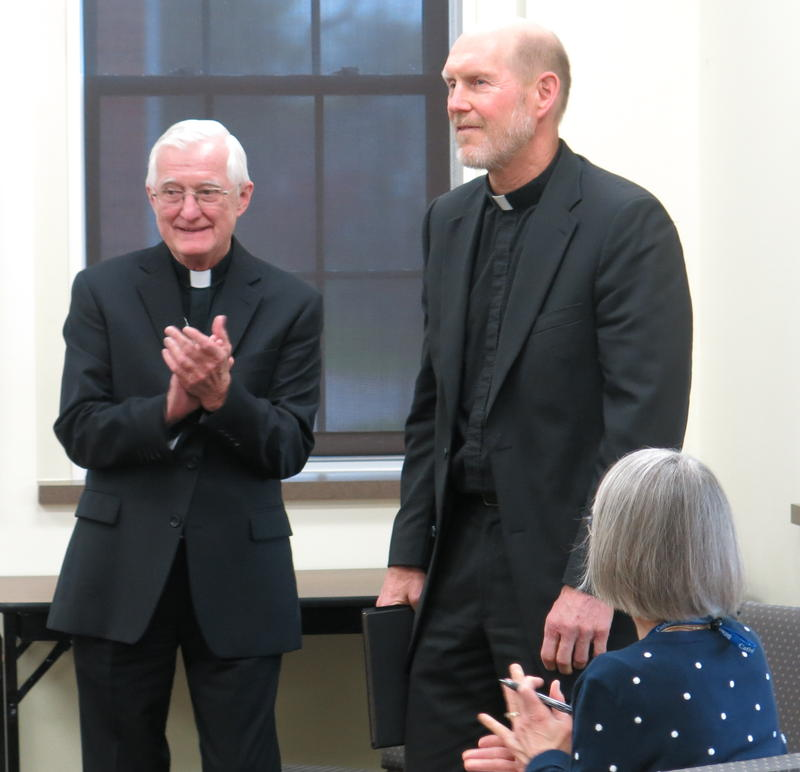 Davenport Diocese Bishop Martin Amos, left, introduces Monsignor and Bishop-elect Thomas Zinkula at a news conference on April 19.