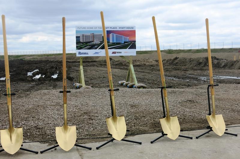 Shovels at ready to break ground for a Hyatt Hotel