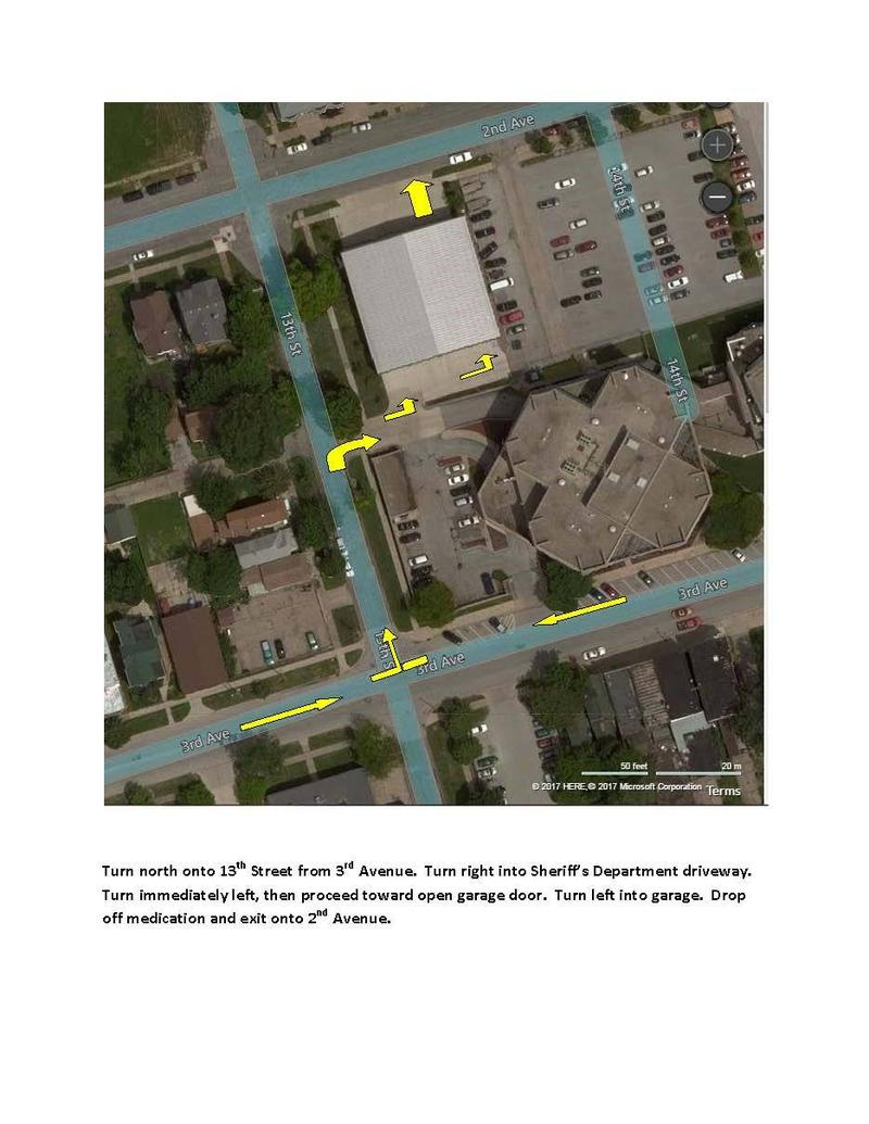 Aerial map with yellow arrows shows drivers where to go on 3rd Avenue and 13th Street, then turn right into a driveway, and through a garage.