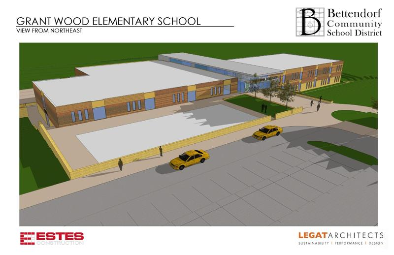 A drawing of the new Grant Wood school.