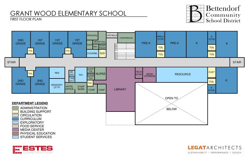 A floor plan for the first floow of the new Grant Wood school.