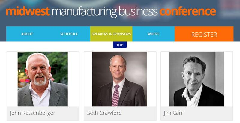 Screenshot of a page from the Midwest Manufacting Business Conference website with three photos. The first is a head and shoulders picture of Ratzenberger smiling.