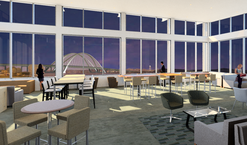Computer drawing of a large room with tables, chairs, and large windows with the new, I-74 bridge in the background