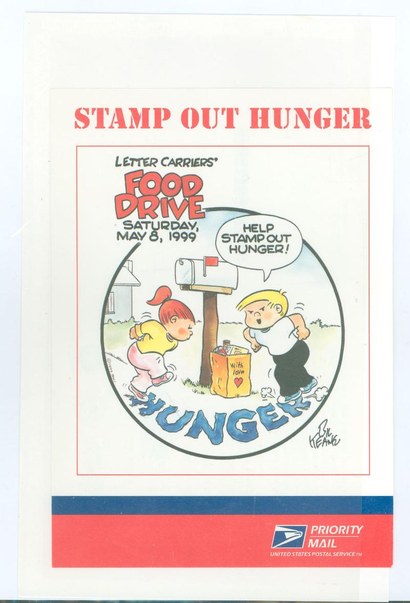 "To commemorate the 25th anniversary, the USPS issued this priority mail ""stamp out hunger"" commercial ad postal card."