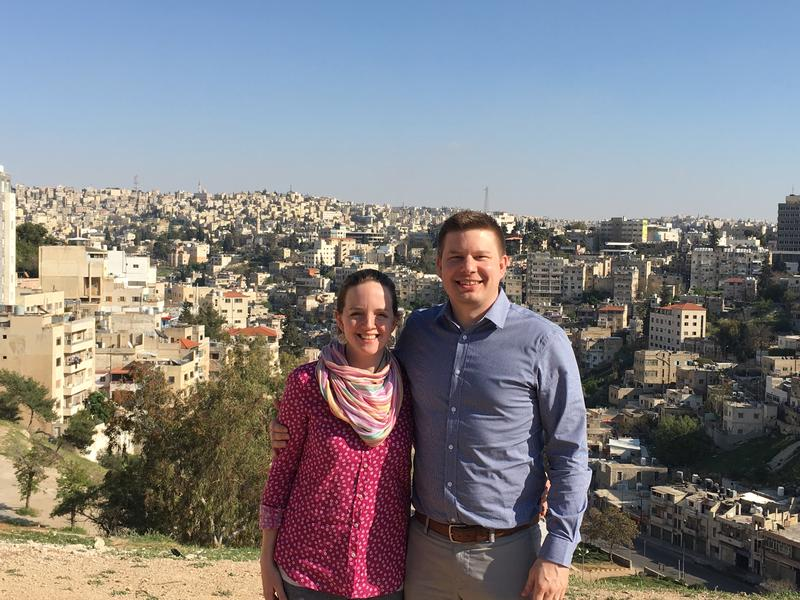 Ethan and Bethany Anderson pose on a hillside outside Mafraq, Jordan during their ten day humanitarian trip.