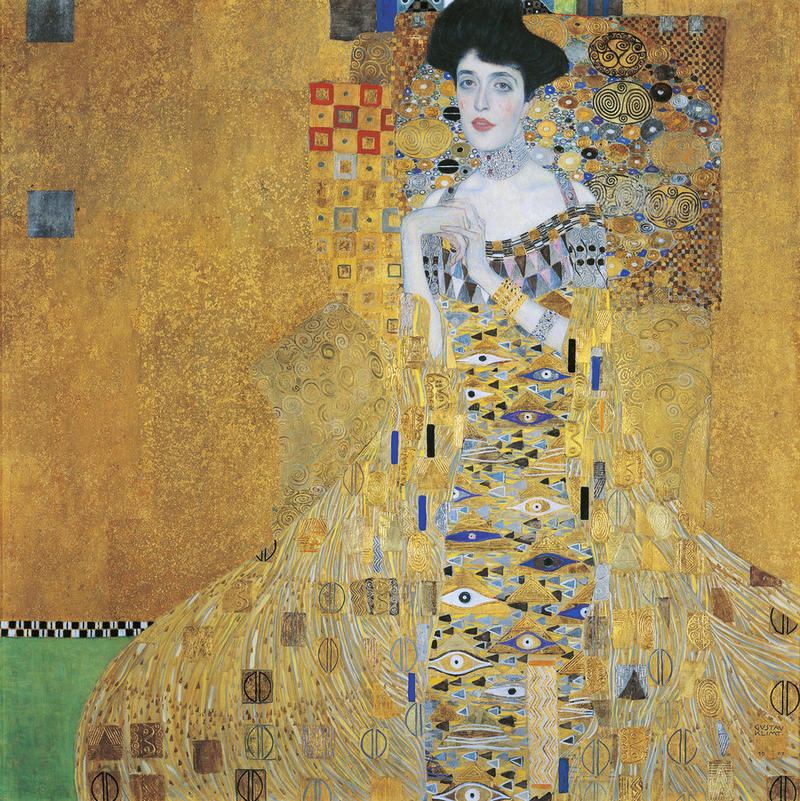 Gustav Klimt, Portrait of Adele Bloch-Bauer I (Woman in Gold), 1907, Oil, silver, and gold on canvas. Neue Galerie, New York.