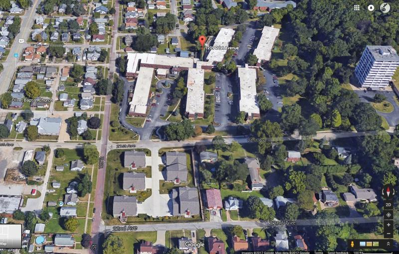 Top half is an aerial view of 5 to 6 buildings with white roofs along with surrounding gray parking lots, trees, and streets. Bottom half shows smaller buildings with gray roofs plus surrounding neighborhood homes.