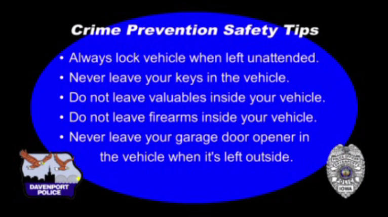 Graphic image with blue oval on black background lists tips to prevent car theft.