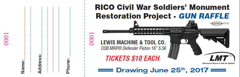 Raffle ticket with an illustration of the rifle and date of drawing, June 25th