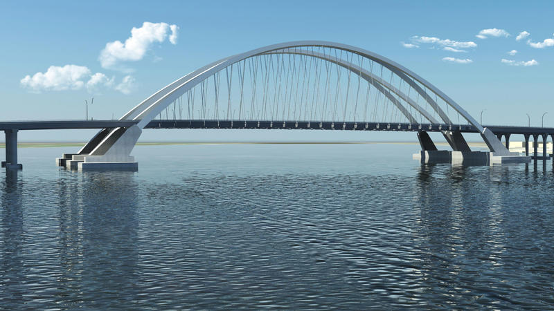 A drawing of the new I-74 bridge.