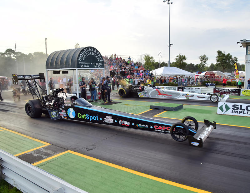 The start of one of many races held at the 64th Annual World Series of Drag Racing, Cordova, IL, August 2017