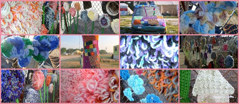Various yarn-bombing projects in the Quad Cities and other places