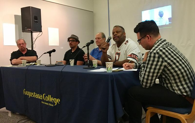 (from left) Hy Thurman, Antonio Lopez, Michael James and Stan McKinney discuss the Rainbow Coalition at a panel hosted by the Augustana Teaching Museum of Art, moderated by Brian Lovato (right).