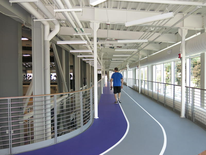 A walking/running track on the upper level