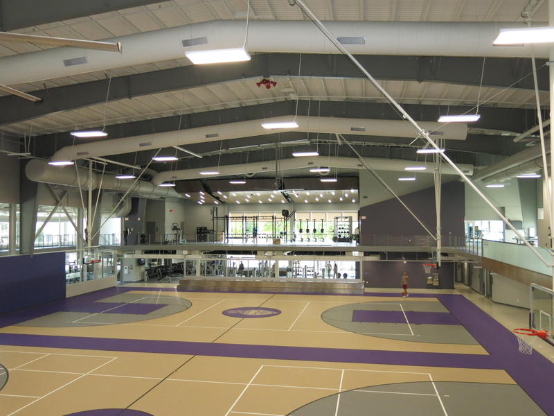 View of the gymnasium from the upper level of the Bittner Athletic & Recreation Center