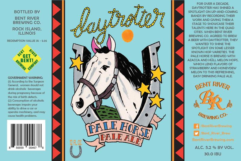 Johnnie Cluney designed the label for Bent River's Daytrotter Pale Horse Pale Ale.