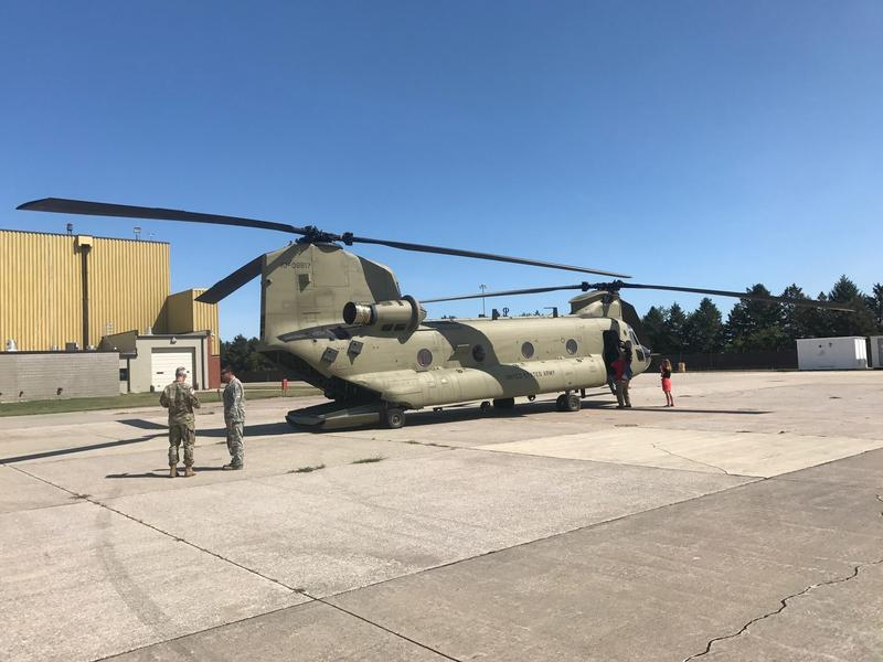 One of two Chinook helicopters the crew flew to Texas