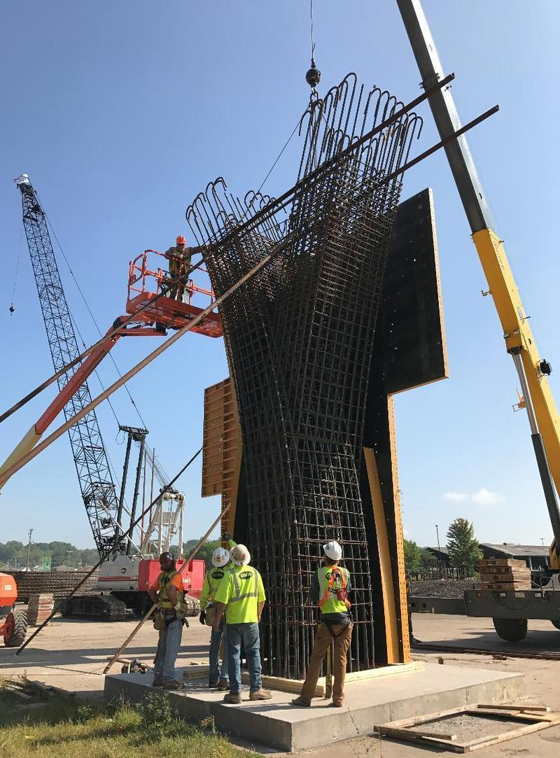 "A crew in Bettendorf has successfully completes a test of a ""Y"" pier."