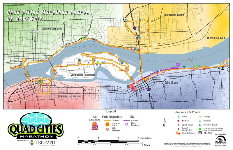 the route of this year's Quad Cities Marathon