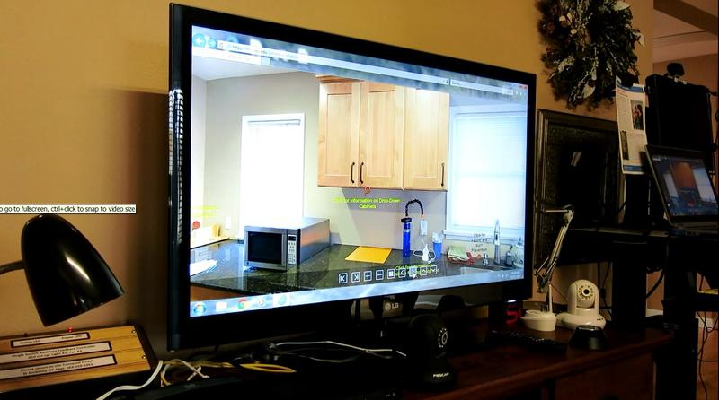 this monitors gives a virtual tour of Jim's Place and its help for disabled veterans