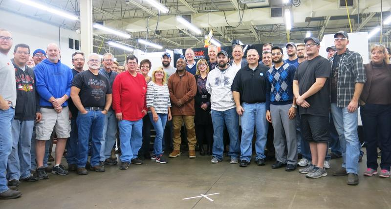 employees of Parr Instruments in Moline with Governor Rauner