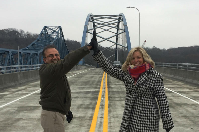 IL DOT Regional Engineer, Ali Mansour, celebrates the new bridge opening with IL State Rep. Tony McCombie (from Savanna).