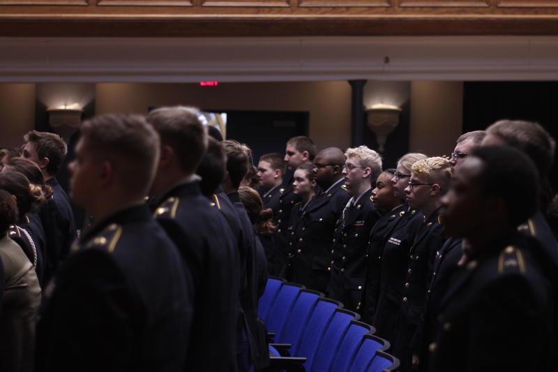 ROTC students attending the Fallen Warrior Salute a Davenport High School