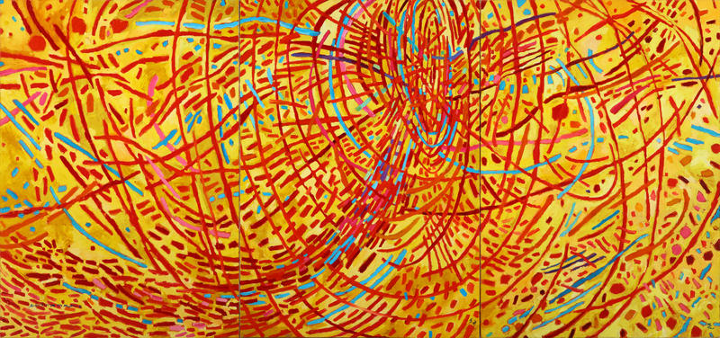 Mildred Thompson, Magnetic Fields, 1991; Oil on canvas, 70 1/2 x 150 in.; Courtesy of the Mildred Thompson Estate, Atlanta, Georgia; art and photo © The Mildred Thompson Estate, Atlanta, Georgia