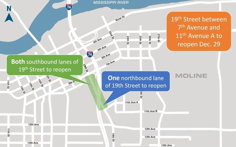 Three lanes of 19th St. in Moline will reopen Friday.