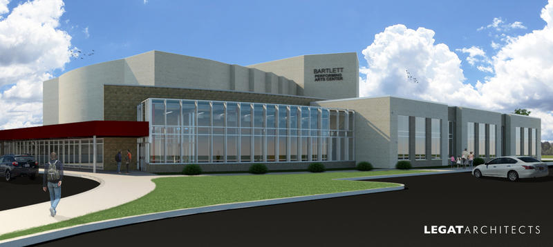 a drawing of the Bartlett Performing Arts Center at Moline High School