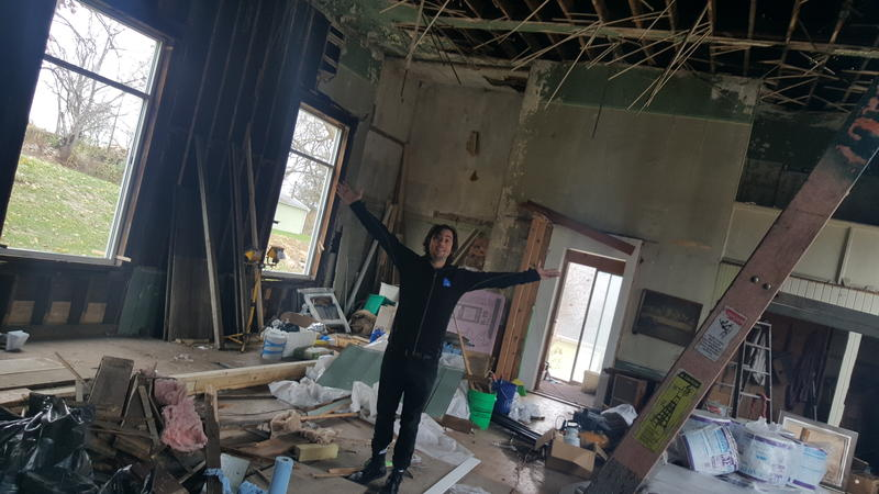 Mikey Loy has been working to restore an old church in LeClaire into a recording studio. He fell while refinishing the church's ceiling.