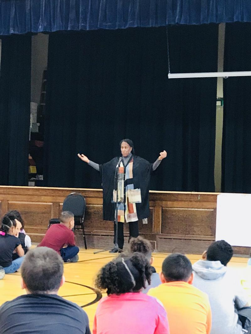 Charlotte Blake Alston performing at Frances Willard Elementary School in Rock Island