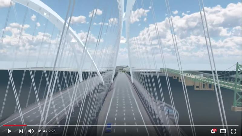 Video screenshot, example of flying over new, I-74 bridge