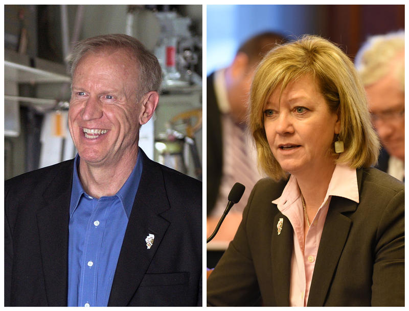 Ill. Gov. Bruce Rauner and challenger Jeanne Ives