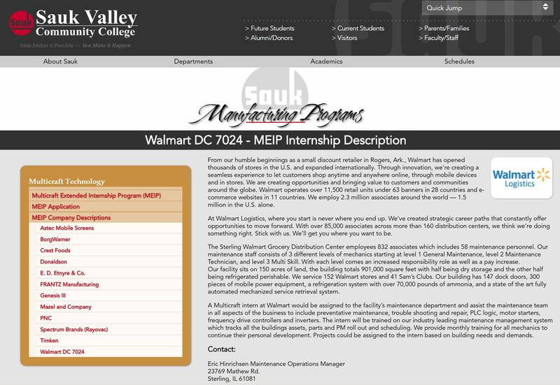 Screenshot from Sauk Valley Community College's website