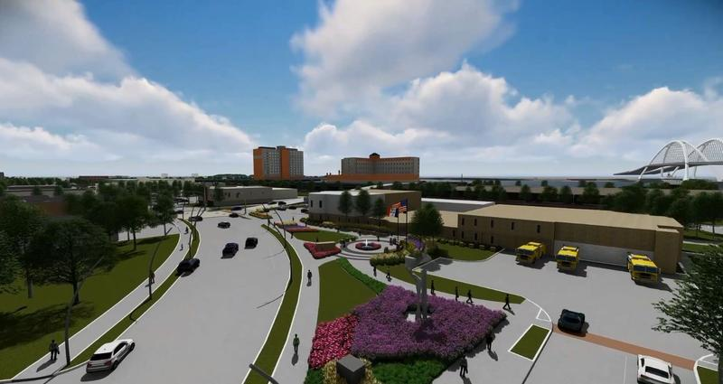Screenshot of land in front of city hall from virtual downtown tour video