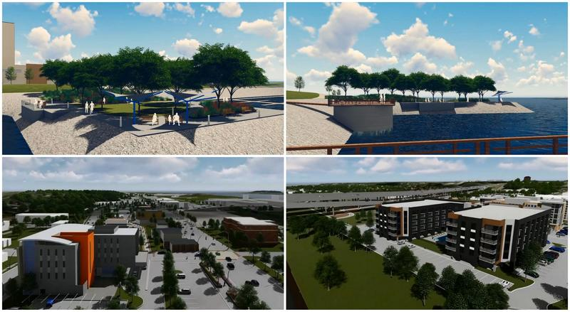 Screenshots from Bettendorf's virtual tour video showing Ascentra's new HQ (bottom left) & the Bridges loft apartments (bottom right)