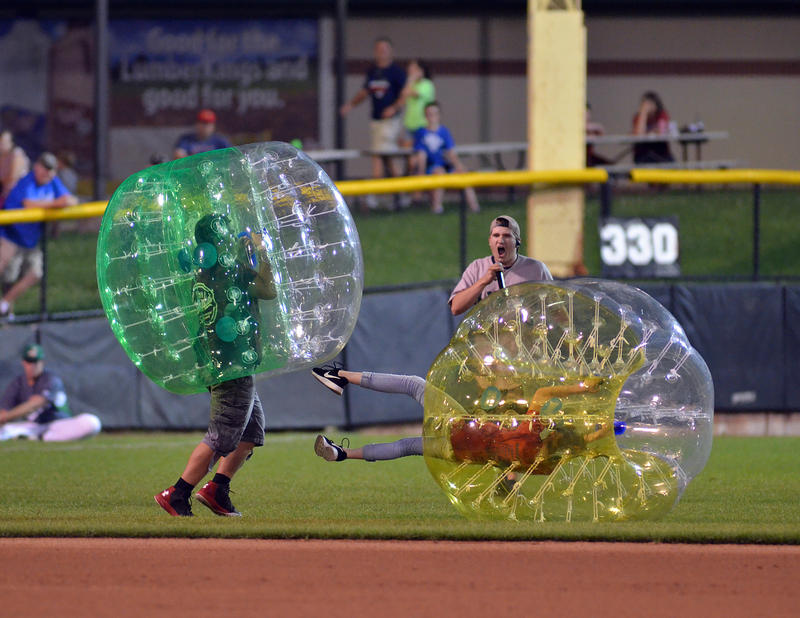 Fans play a round of bubble smash