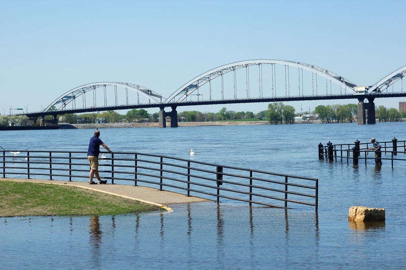 Mississippi River flooding in Davenport, IA on 5/7/2018