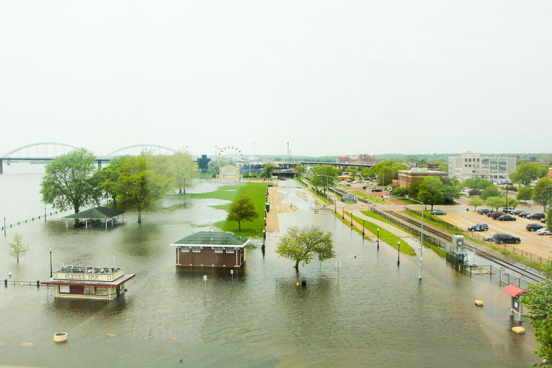 Davenport's downtown riverfront as the Mississippi crests Friday, 5/11