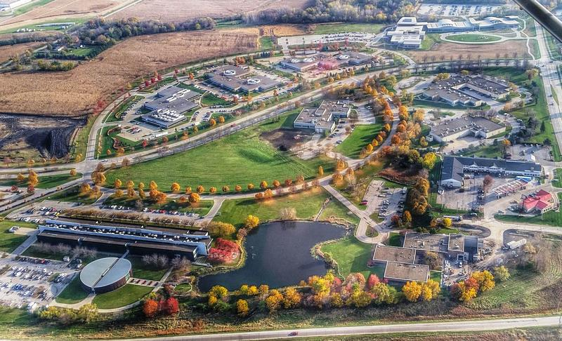 an aerial view of the ISU Research Park