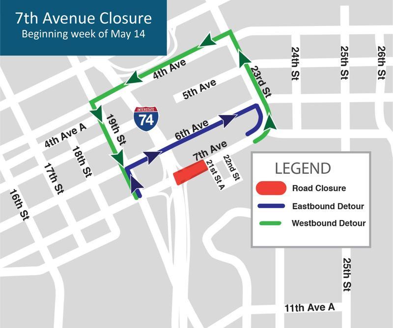 Map of 7th Avenue detours