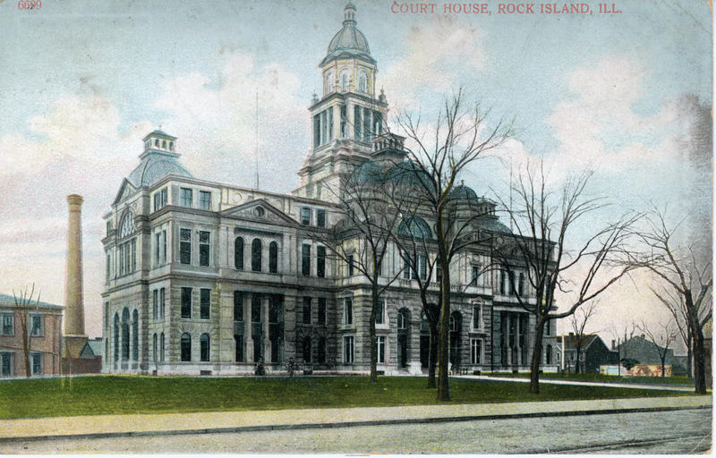 postcard photograph of the Rock Island County courthouse before its six domes were removed.