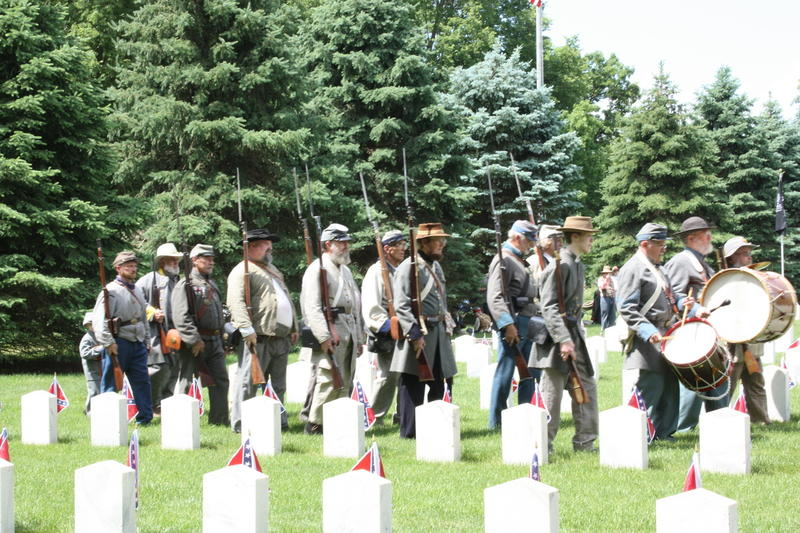Photo taken during a past Memorial Day ceremony at the Rock Island Confederate Cemetery, Rock Island Arsenal