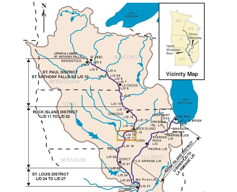 Map of the locks & dams on the Upper Mississippi River