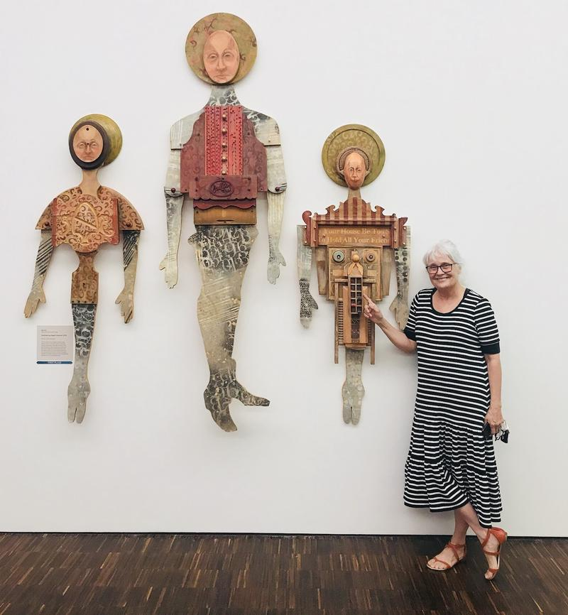 "Gail Ray and her ""Entertaining Angels Unaware"" sculpture series at the Figge Art Museum in Davenport"
