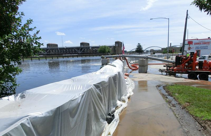 July 2014 - temporary floodwall using Hesco barriers