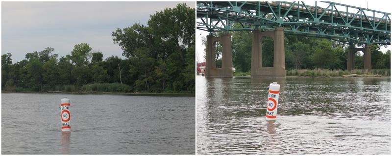 "Two new ""SLOW, NO WAKE"" buoys have been placed in the river."