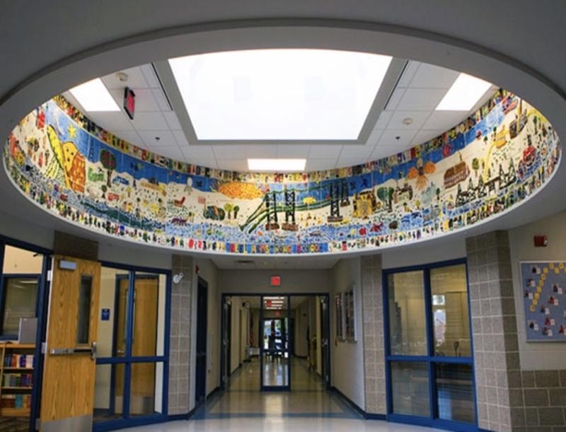 Sally Gierke's mural at Neil Armstrong Elementary School in Bettendorf