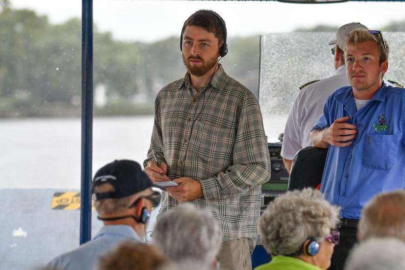 Jack Cullen (L) listens during River Action's latest Channel Cat Talk.